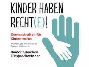 """Plakat """"Kinder haben Recht(e)!"""", Aufruf zur Demonstration"""